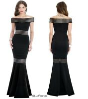 New Black Long Offshoulder Fishtail Wedding  Eve Prom Maxi Plus Party Dress 8-16