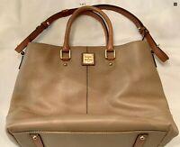 Dooney Bourke Pebbled Leather Chelsea Satchel Tote Shoulder Bag Taupe & Brown