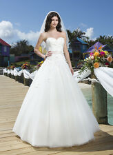 722 SINCERITY 3775 IVORY BLUSH SZ 14 $1997 DELICATE FLORAL  WEDDNG DRESS GOWN
