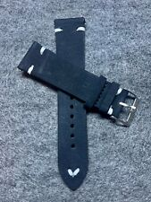22mm Quick Release Black Nubuck Vintage Leather Watch Strap Band