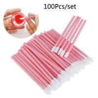 100pcs/bag Pink Disposable Lip Gloss Applicators Lipstick Wands Tool Kits Brush