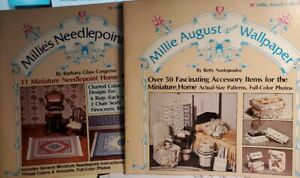 2 Vtg Millie August Books Dollhouse Needlepoint Rugs & Accessory Items