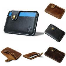 Mens Womens Slim Minimalist Front Pocket Wallet Leather Credit Card ID Holder