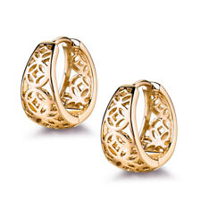 18K Yellow Gold Filled Chinese Acient Coin Hollow Huggies Women Party Earrings