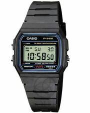 Casio Retro 33mm, Caja de Acero Inoxidable Negra, Correa de Resina Negra, Reloj para Hombre (F-91W)