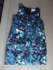 USED RIVER ISLAND TEAL FLORAL BROCAIDE GOLD THREAD TUNIC DRESS SIZE 12