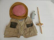 New listing Build A Bear ~ Straw Hat * Fishing Vest * Fishing Pole w/Fish