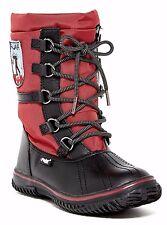 NIB Pajar Grip Low Faux Fur Waterproof Womens Black Red Boot Sz 39 EU 8-8.5 US