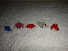 Vintage Murano Bimini Glass Charms Tortoise, Pig & 3 Fish