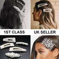 Pearl Word Letters Hair Clip Slide Hair Pin Barrette Bridal Hair Accessory UK
