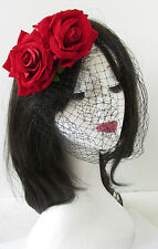 Red Black Rose Flower Birdcage Veil Fascinator Vintage Headpiece 1940s 1950s S44