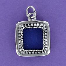 Square Photo Frame Charm Sterling Silver for Bracelet Dot Edge Slot Opening