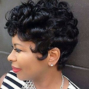 Women Curly Wavy Short Wigs Black Ladies Costume Synthetic Hair Brazilian Style