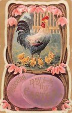 Pink Snowdrops & Lavender Eggs Around Chicken & Chicks-Old Art Nouveau Easter PC