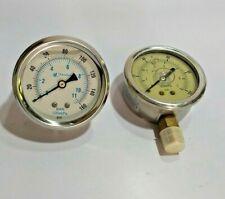 """Pressure Guage 0-160 PSI 1/4"""" NPT - Donaldson KC-K14 and 0-100 PSI 140718 - 2pcs"""