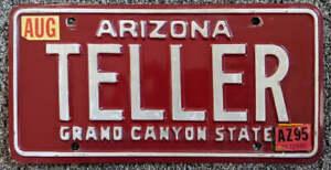 Arizona 1995 Vanity License Plate TELLER