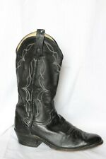Dan Post Black Leather Classic Cowboy Western Boots Men's 8 D