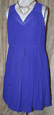 M MARC BOUWER STUNNING CHIFFON  V NECK PLEATED DRESS & SLIP W/TIE BELT PURPLE L