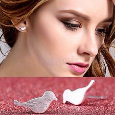2Pcs Women Cute Little Silver Bird Dove Ear Stud Party tiny Earrings Jewelry MA