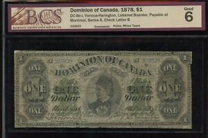1878 Dominion of Canada $1 - DC-8e-i. BCS Good 6. Lettered Border, S/N: A335829