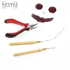 Feather Hair Extension TOOL KIT-Hair Pliers,Hook & Loop 1000pcs Nano Rings BEADS