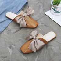 Womens Flat Casual Square Toe Outdoor Bowknot Slip On Slippers Fashion Shoes Sz