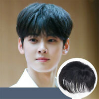 Men Topper Hairpiece 100% Human Hair Clip For Loss/White Forehead Hair Extension