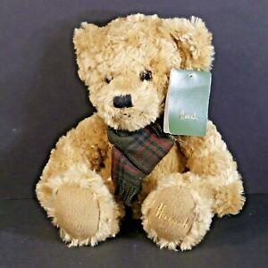 "Harrods Knightsbridge Signature Paw Teddy Bear 11"" Plush w/ Plaid Scarf EUC (R9)"