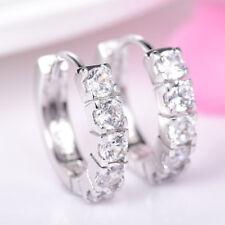 18K White Gold White Crystal Stunning Hoop Earrings   382