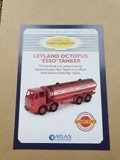 Atlas  Dinky Toys Leyland Octopus 'Esso' Tanker Certificate of Authenticity.
