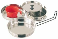 Stainless Steel 5 Piece Mess Kit  Scout Cadet Campfire Camping Cook Set Hiking