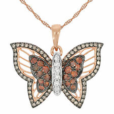 0.75ct Round Cut Cognac & Brown Diamond and Diamond Butterfly Pendant with Chain