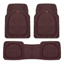 Burgundy Deep Dish Rubber Car Floor Mats for Auto 3-Piece All Weather Liners