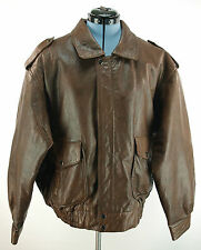 Vintage Stuart McGuire Brown Leather Type A2 Style Bomber Jacket XL Heavy