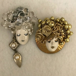 """Fancy Faces - Vintage Hand Painted Ceramic """"Lady Face"""" Brooches/Pins"""