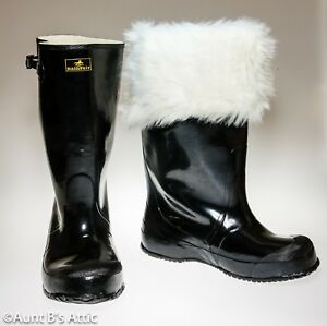 Santa Boots Shiny Black Rubber Pull On Water Proof Boot W/ Wht Faux Fur Cuff