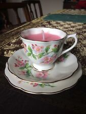 Teacup candle, Royal Albert 'Evesham', pink open flower, birthday anniversary