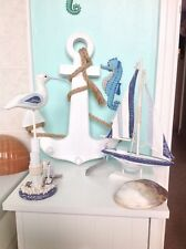 NAUTICAL BATHROOM ACCESSORIES YACHT SEAGULL WHITE ANCHOR HANGING CLOTHING PEGS