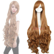 Synthetic Light Brown 100cm Long Curly Wavy Hair Party Anime Cosplay Wigs