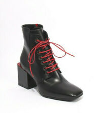 Giampaolo Viozzi 415 Black Red Leather Lace Zip Ankle Heel Boots 39.5 / US 9.5