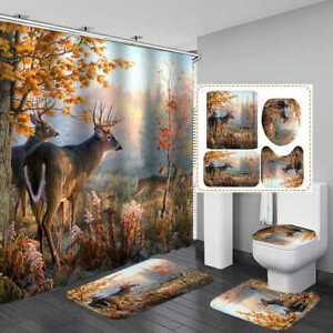 Autumn Forest Deer Bath Mat Toilet Cover Rug Shower Curtain Bathroom Decor