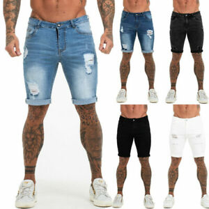 GINGTTO Mens Denim Shorts Stretch Regular Fit Distressed Ripped Half Jeans Pants