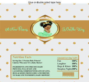 12 Hershey Candy Bar Wrappers Baby Shower Vintage Baby Princess Mint Polka dots