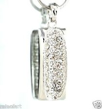 "Fidelity Made With Swarovski Crystal Rectangle Pendant Necklace Jewelry 18"" Chan"