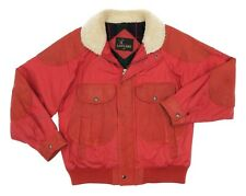LAKELAND Leather Jacket L Large Mens Red Vintage Flight Bomber Jacket Motorcycle