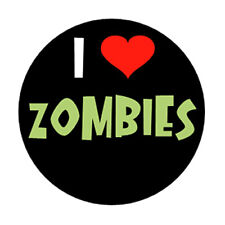 I LOVE ZOMBIES pin button horror movie punk goth heart