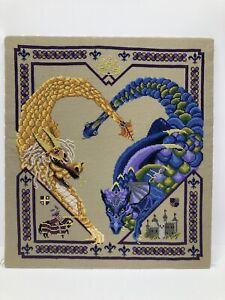 """Dragons Castle Joust GOT Needlepoint Embroidery Foam Board Mount 15"""" X 14"""""""