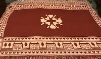 """Vintage Woven Country Hearts Throw Blanket Coverlet 66 X 44"""""""