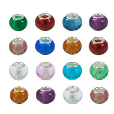 100pcs Mixed Color Glass European Spacer Bead Chunky Loose Beads Large Hole 15mm
