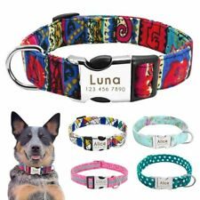 Nylon Dog Collar Personalized Pet Collar Engraved ID Tag Nameplate Reflective On